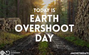 Image of cut logs in front of forest for Earth Overshoot Day 2020.