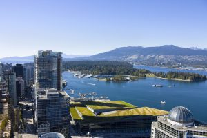 Aerial image of Vancouver, Coal Harbour and Stanely Park.