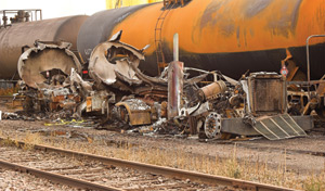 Burned Out Truck in Train Yard