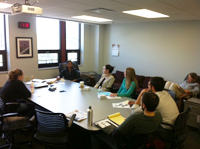 Students attending a lunch and learn session