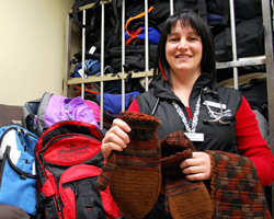 Tracie Jones packing bags to give to the homeless