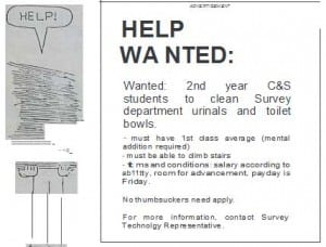 Cheeky 'help wanted' ad apparently placed by the BCIT Engineering students. From The Link, Volume 19, Number 14, December 5, 1984.
