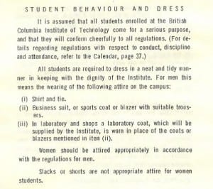 'Student behaviour and dress' from the BCIT Student Information Brochure, 1964/1965. pg. 15.