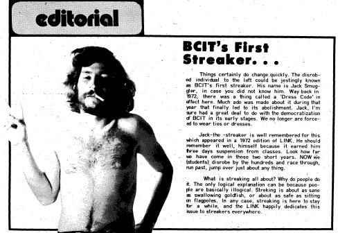 Peace out. I leave you with an image of BCIT's first streaker, with a cigarette in his mouth. Image is taken from The Link March 15, 1974 pg. 4