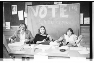 Notice the ashtray on the desk of the Student Association voting table. March/April 1980. BCIT Archives item no. a001312.