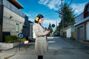 Rosa with some of the equipment used to complete her Master's thesis on laneway housing acoustics.