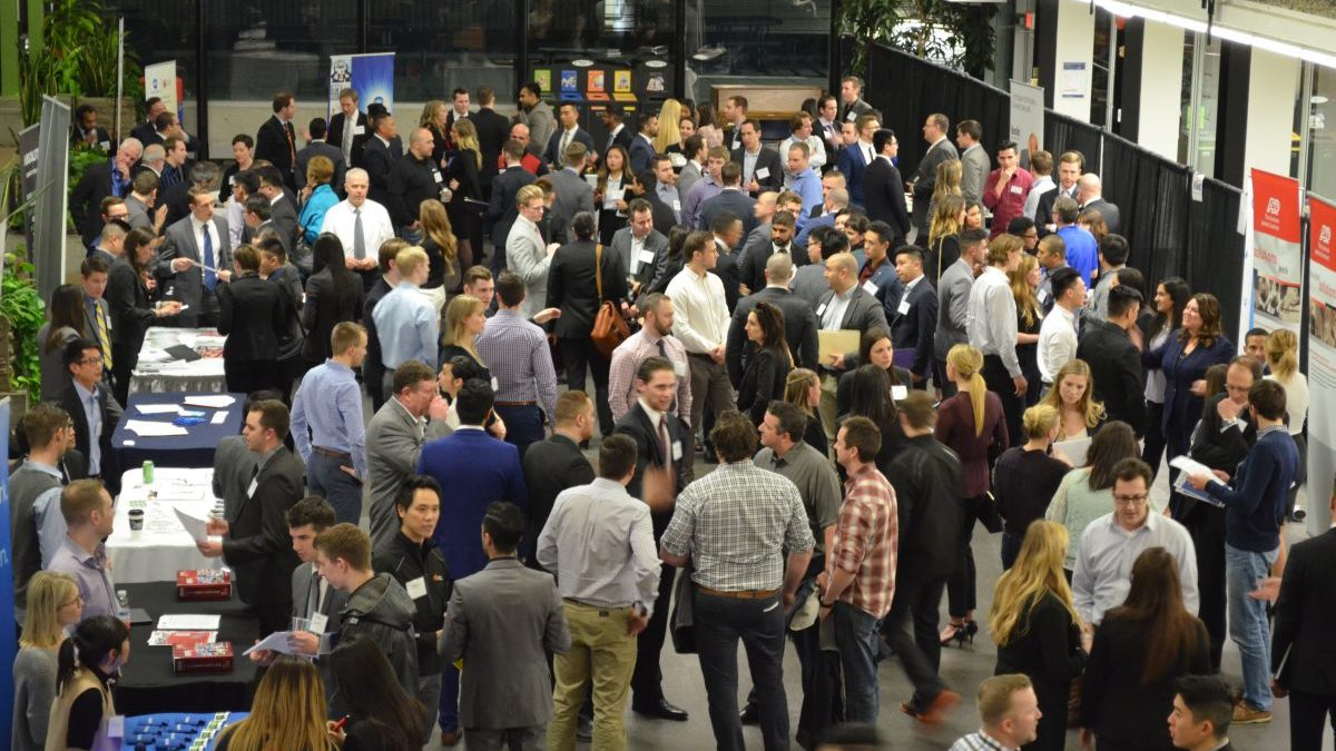 Students and employers converge at BCIT Burnaby campus for the Professional Sales career night on February 2, 2016.