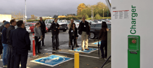 A pit stop at the Level-3 fast charge electric vehicle charge station.