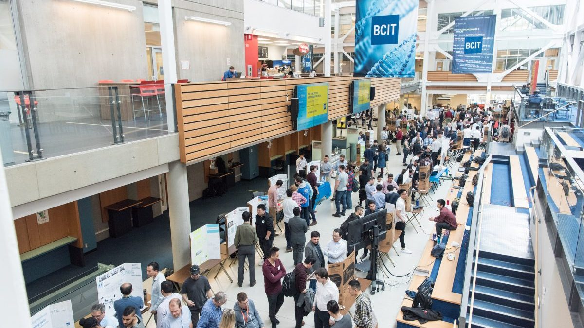 Visitors, students, and instructors mingle at the 2017 BCIT Engineering Expo.