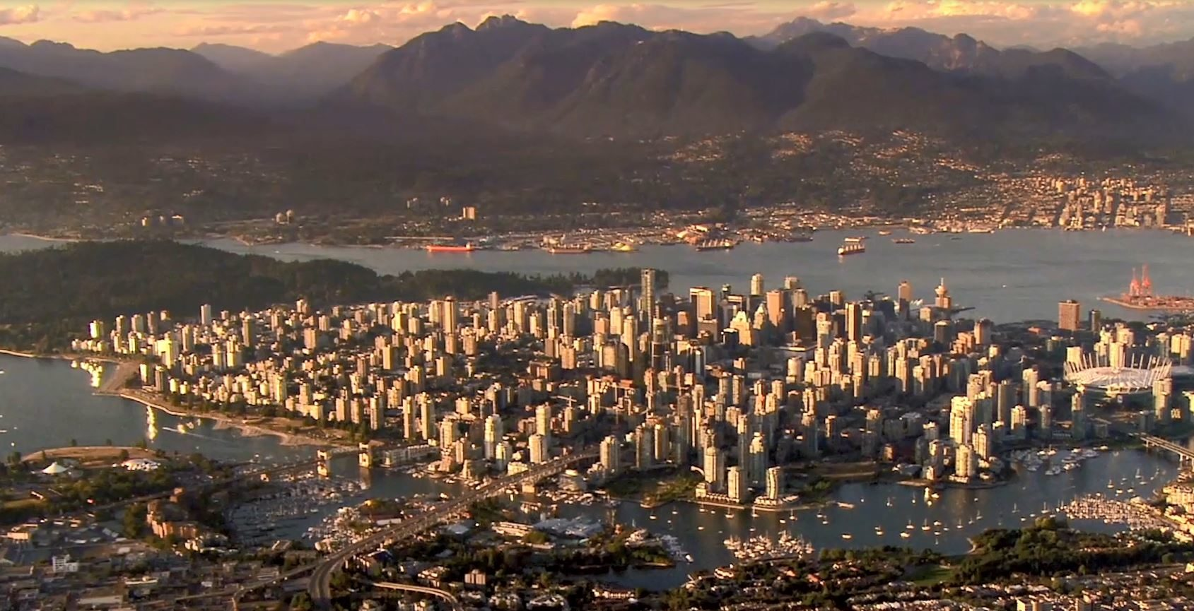 Vancouver cityscape at twilight