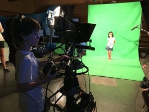 A broadcast camp a participant controls a large camera which is pointed at a young girl in front of a green screen