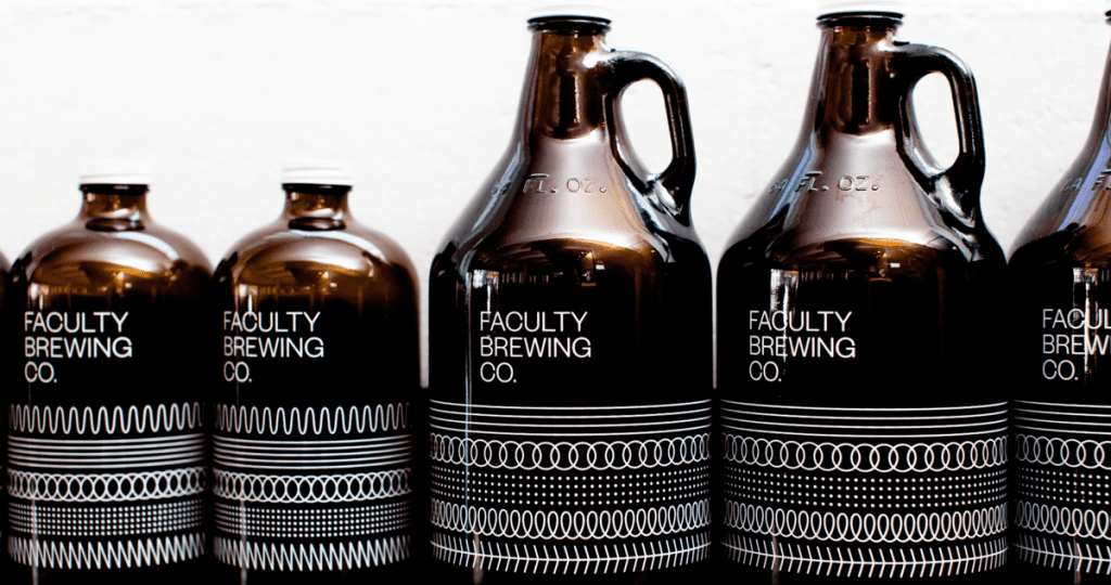 Faculty Brewing growlers