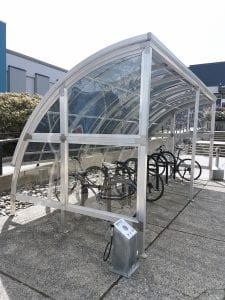 A covered bike shelter and pump station on the BCIT Burnaby Campus