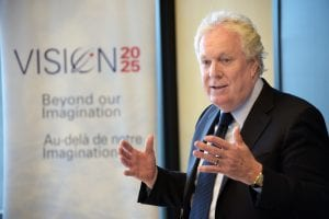 Jean Charest discusses state of Canadian Aerospace Industry with BCIT Aerospace students