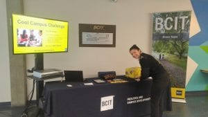 BCIT Marine Campus student Nicole Pickering signs the Cool Campus Challenge pledge form.