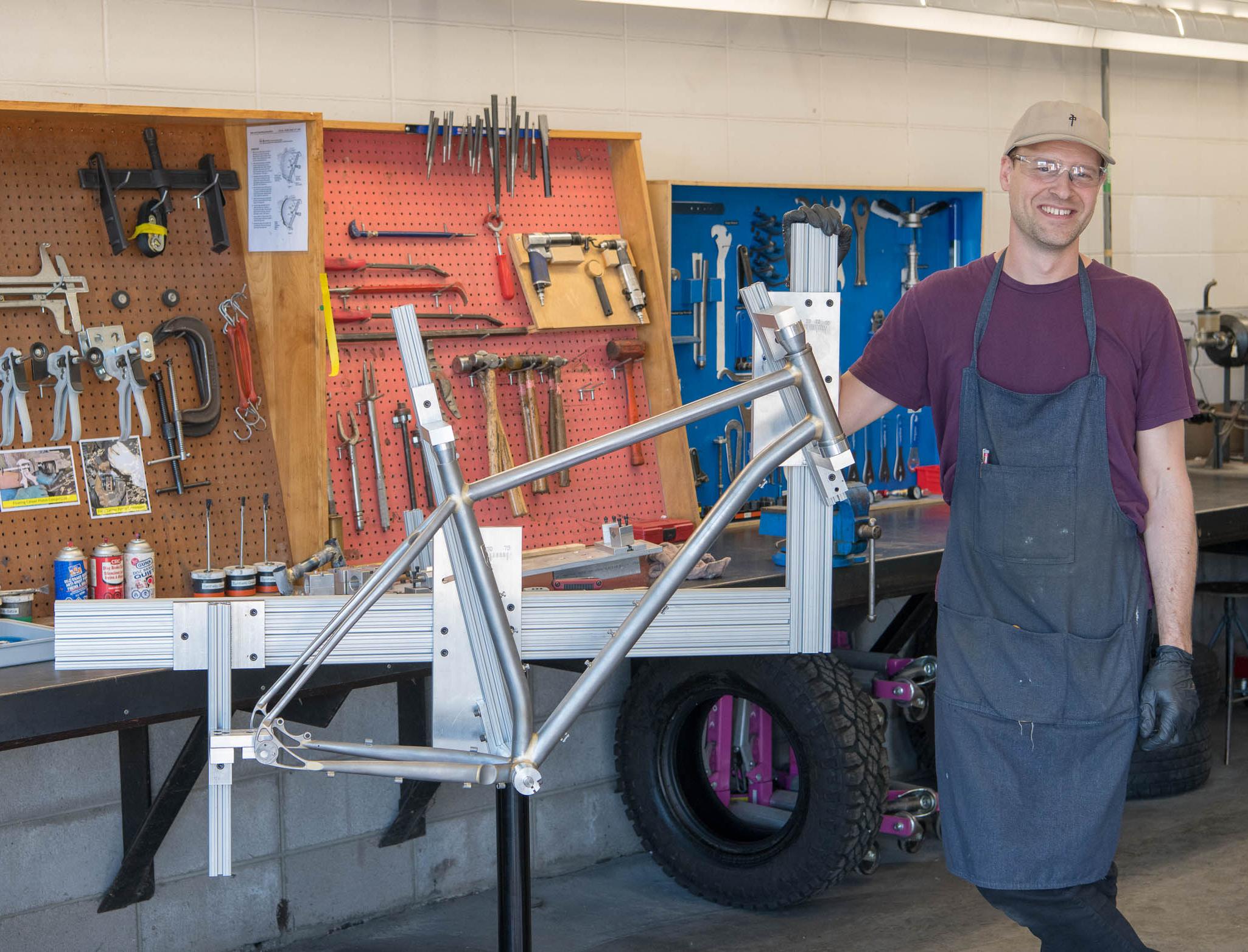 Tim Sorensen and his custom bike jig