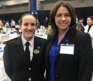BCIT Alumni Association VP Jennifer Patterson stands with BCIT Nautical Sciences student Alysha Bacus