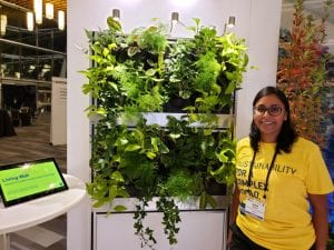 woman standing beside living wall of plants