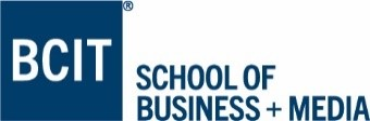 BCIT in a blue box logo - with School of Business + Media written alongside