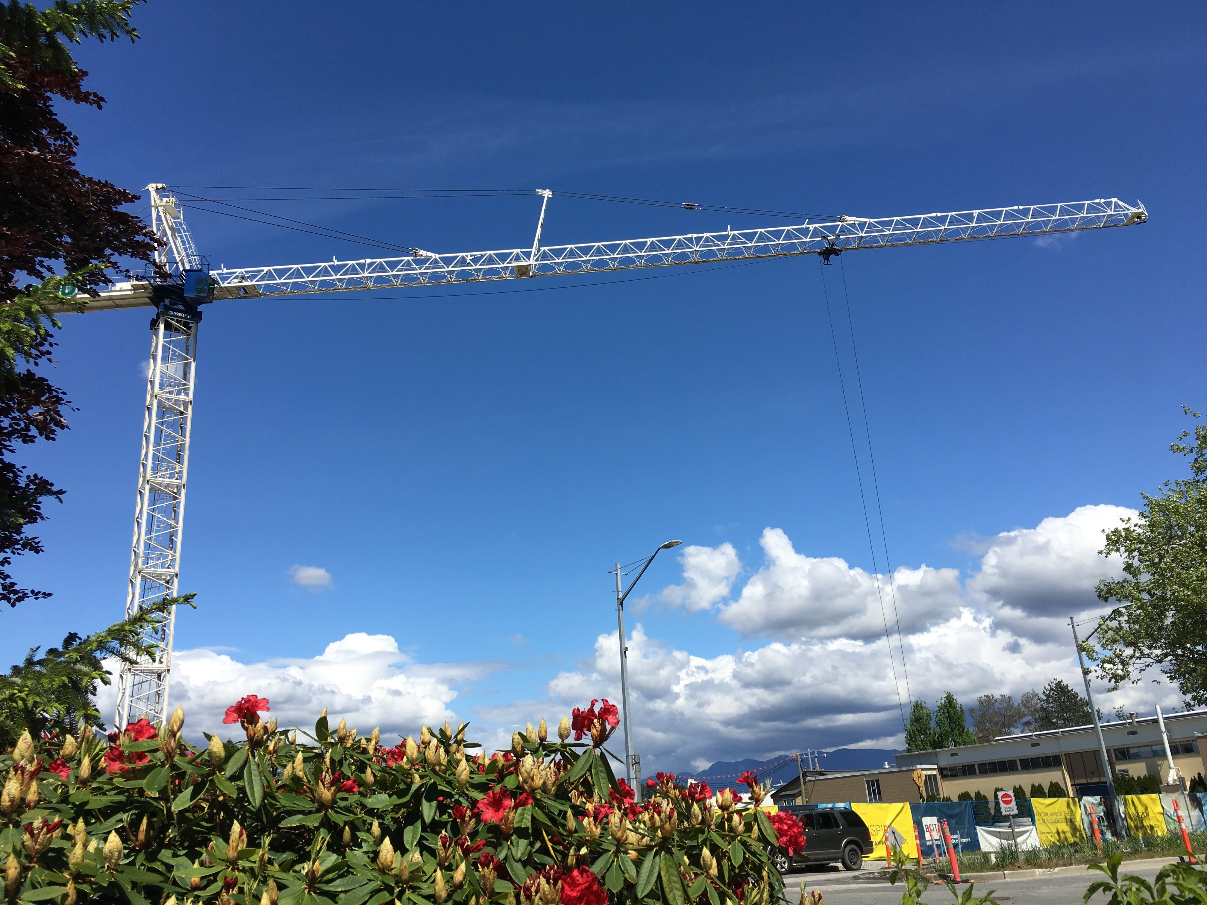 Pecco SK 400 tower crane installed at BCIT on the site of new BCIT's Health Sciences Centre
