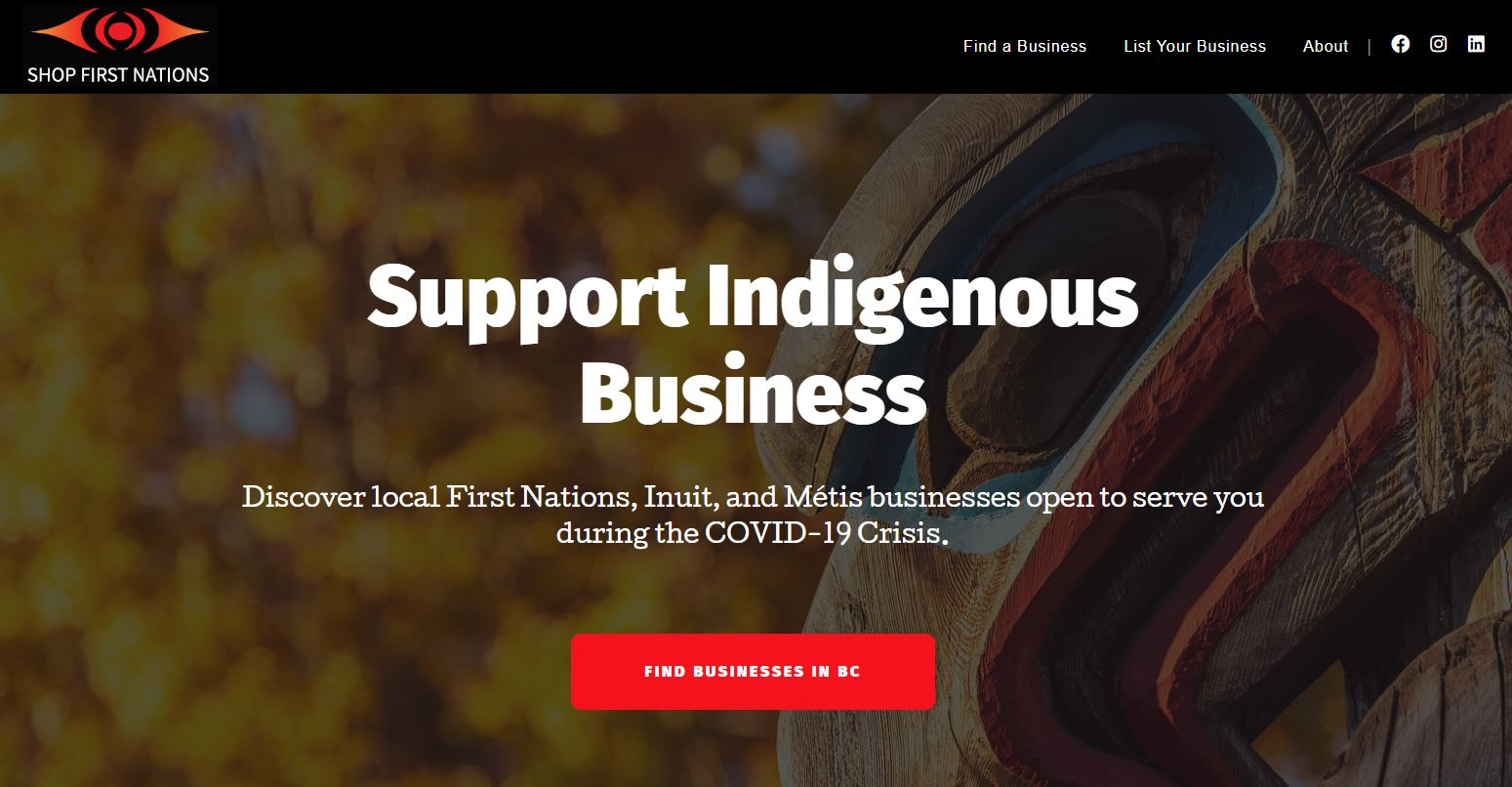 landing page image for Shop First Nations website