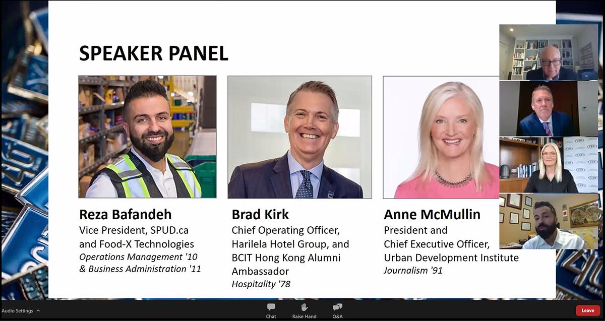 Screen shot of three alumni guest speaker panel