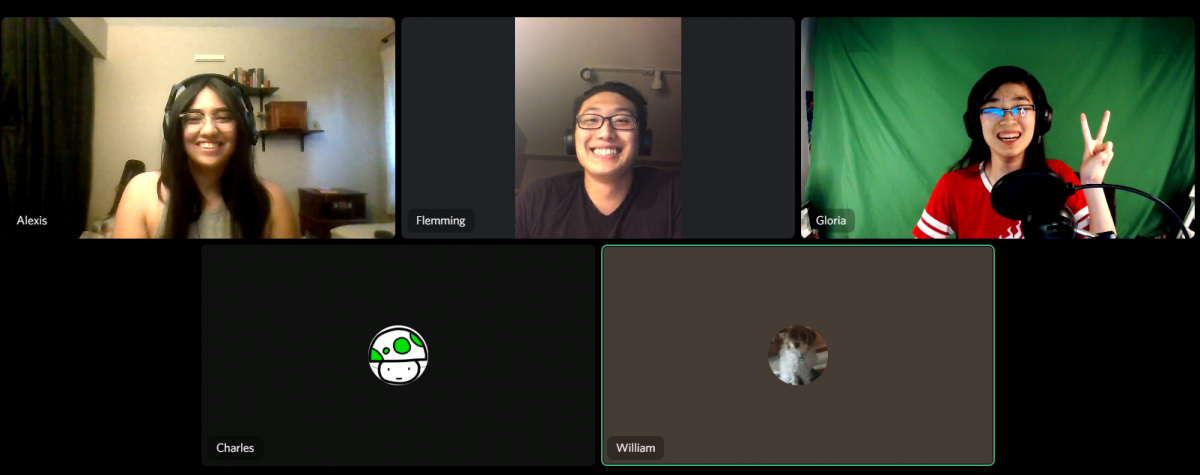 five students in an online meeting
