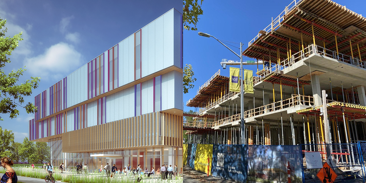 Side by side image of artist rendering of new HSC building, and photo of current HSC building under construction