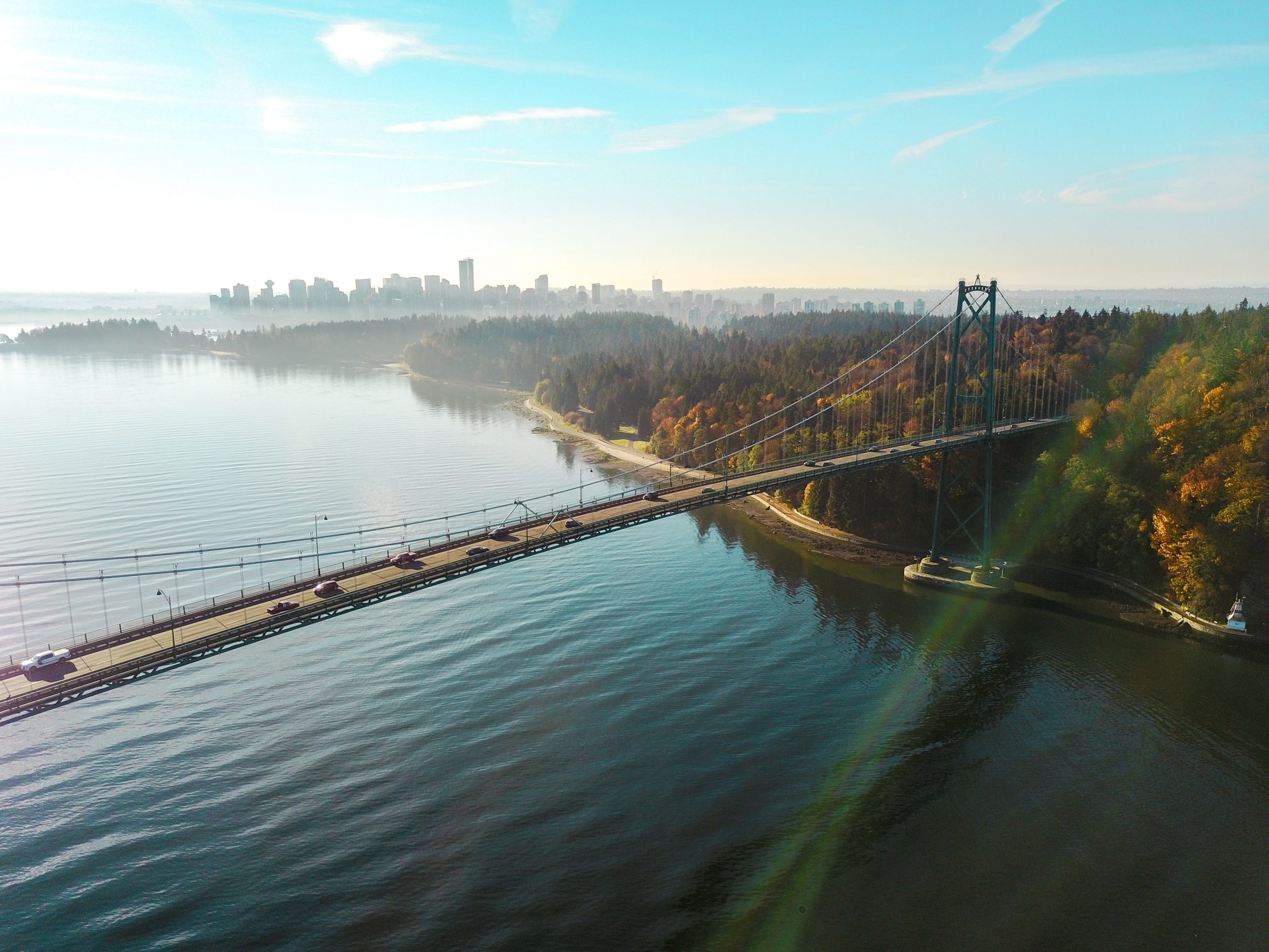 An aerial view of a bridge, water, and a park