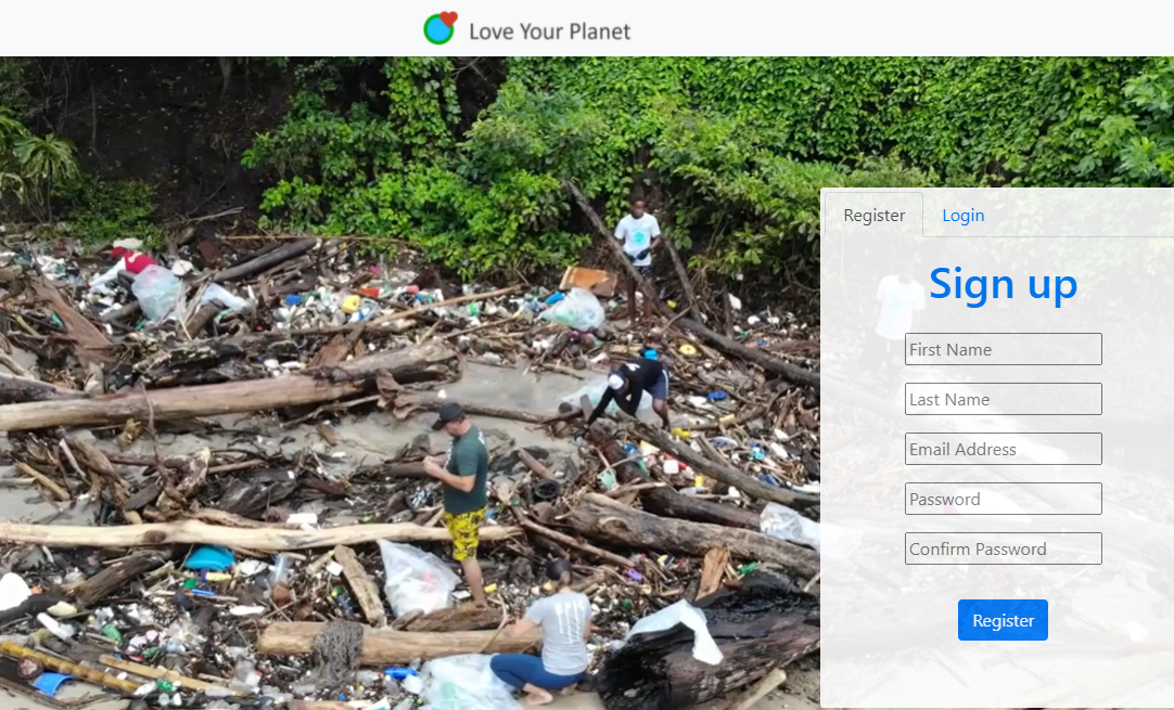 people clean up plastic waste on a beach in this image from LYPF