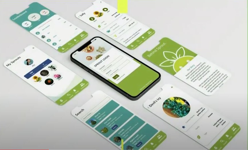 """Cell phone showing the gardening app, """"Sprout"""""""