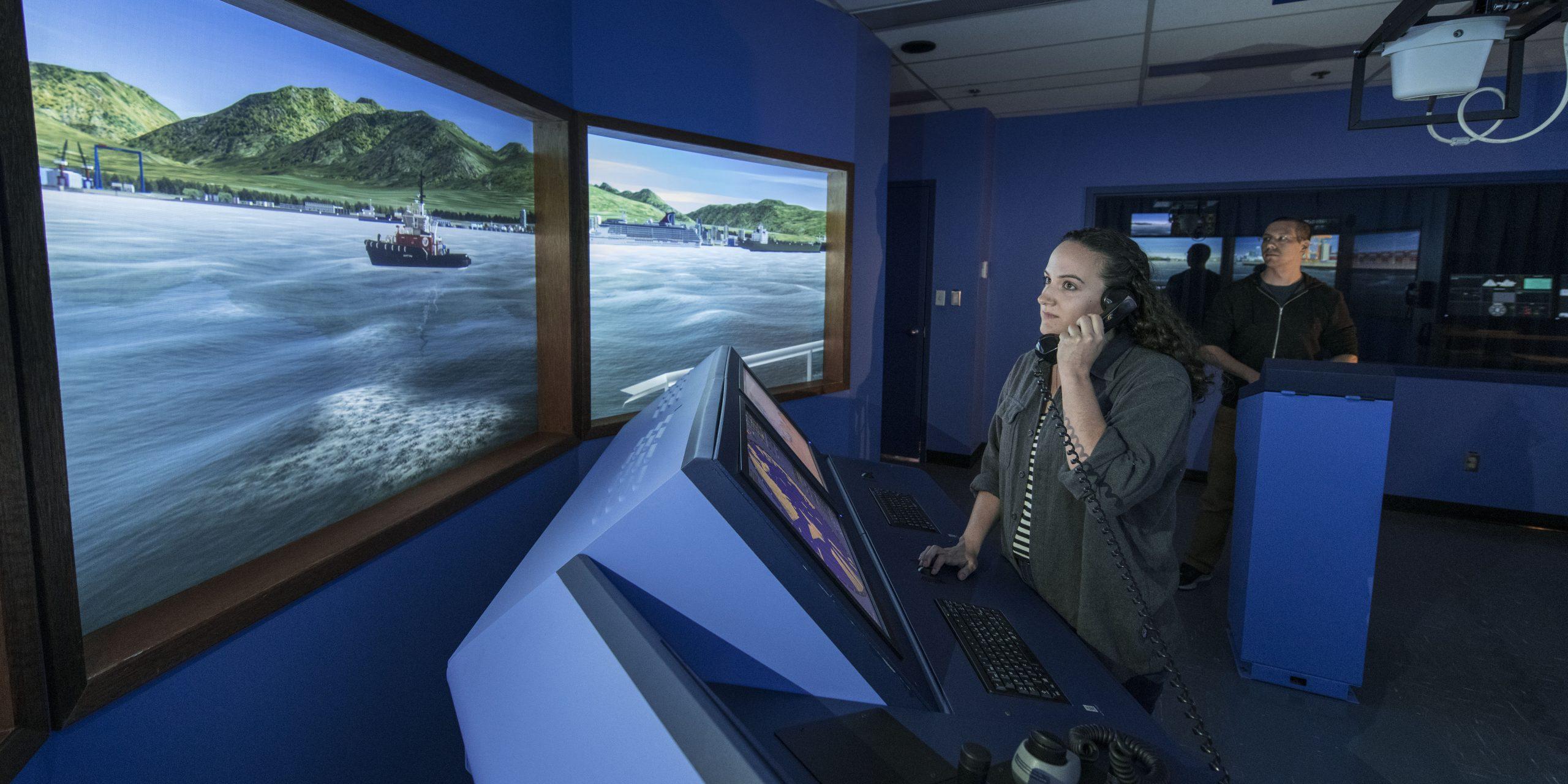 Female student working in marine simulation lab