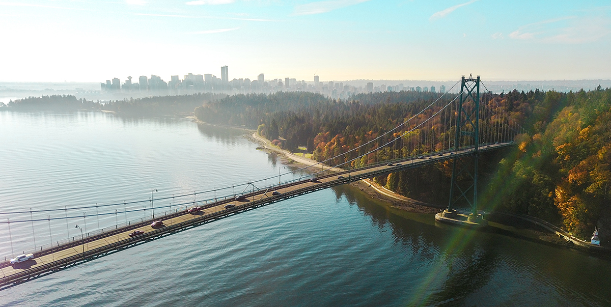 Birds-eye angle of the Lions Gate Bridge in Vancouver, BC